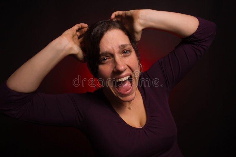Distressed Female Model With PMS Stock Photos