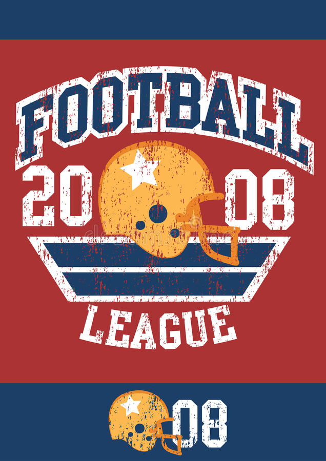 Distressed football league poster with helmet royalty free illustration