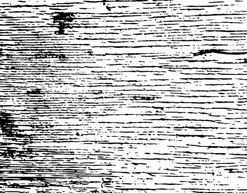 Distressed grainy wood overlay texture. Grunge wooden planks messy background. Dirty rustic empty cover template. Rural vector illustration