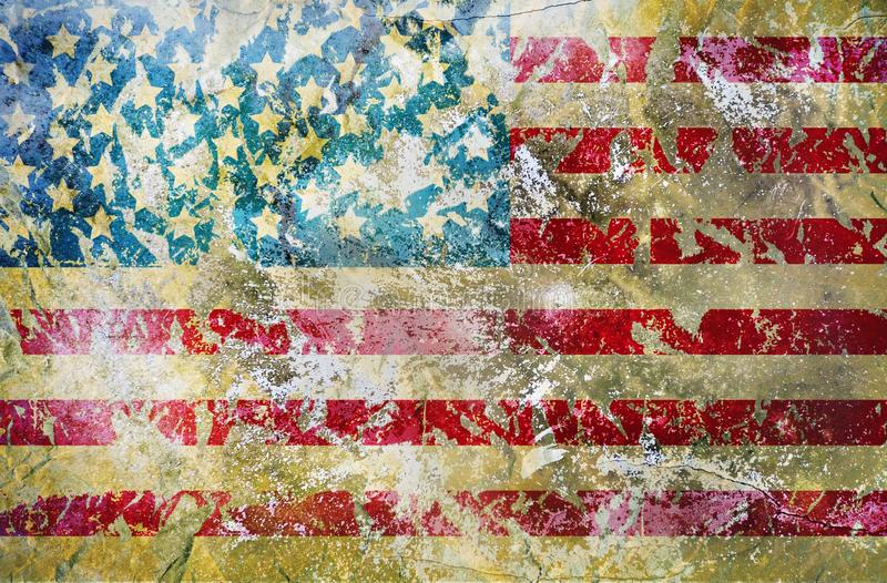 Distressed grungy USA flag, stars and stripes, grunge background or design element stock photography