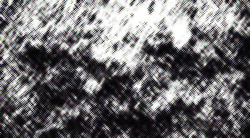 Distressed halftone grunge black and white scratches blurry shaded rough texture background. Many uses for advertising, book page, paintings, printing, mobile stock photos