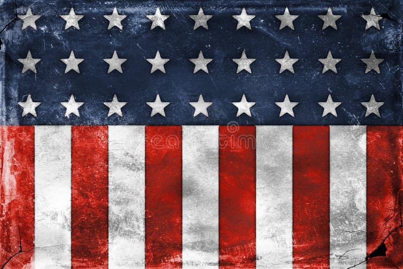 Distressed Look Stars And Stripes Design. Digital created grunge style United States flag design stock illustration