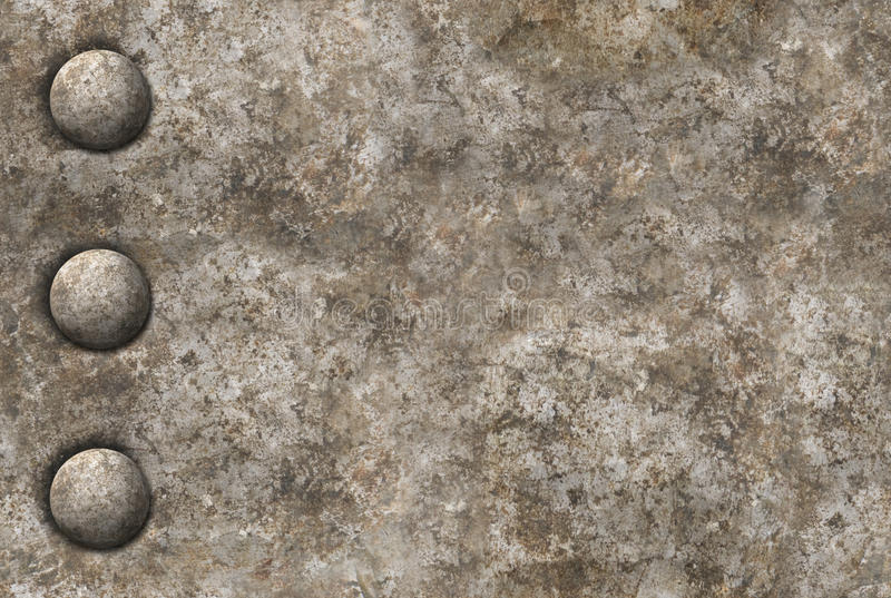 Distressed metal surface texture with a row of rivets seamless t. Distressed gray metal surface texture with a row of rivets. Image is seamlessly tileable vector illustration