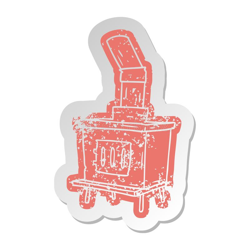distressed old sticker of a house furnace royalty free illustration