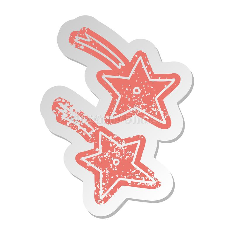 Distressed old sticker of ninja throwing stars. A creative illustrated distressed old sticker of ninja throwing stars royalty free illustration