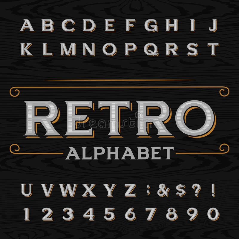 Free Distressed Retro Vector Typeface. Royalty Free Stock Images - 63438399