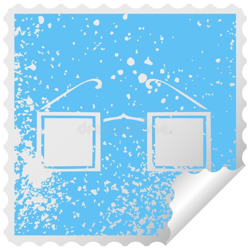 distressed square peeling sticker symbol of a square glasses stock illustration