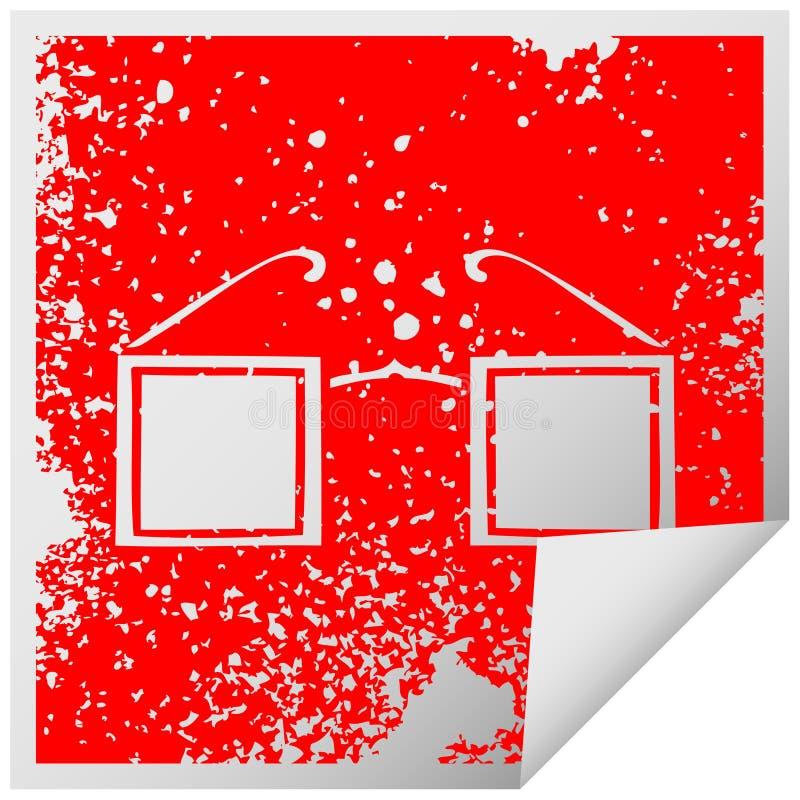 distressed square peeling sticker symbol of a square glasses vector illustration