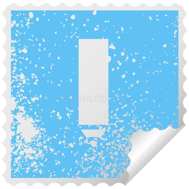 distressed square peeling sticker symbol red pencil stock illustration