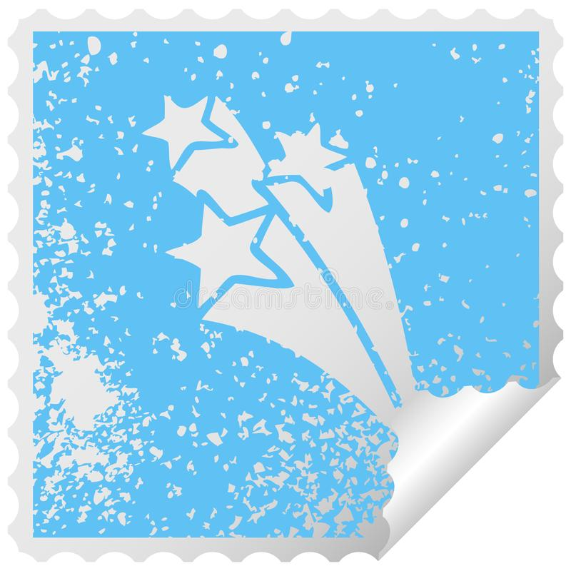 Distressed square peeling sticker symbol shooting stars. A creative illustrated distressed square peeling sticker symbol shooting stars vector illustration
