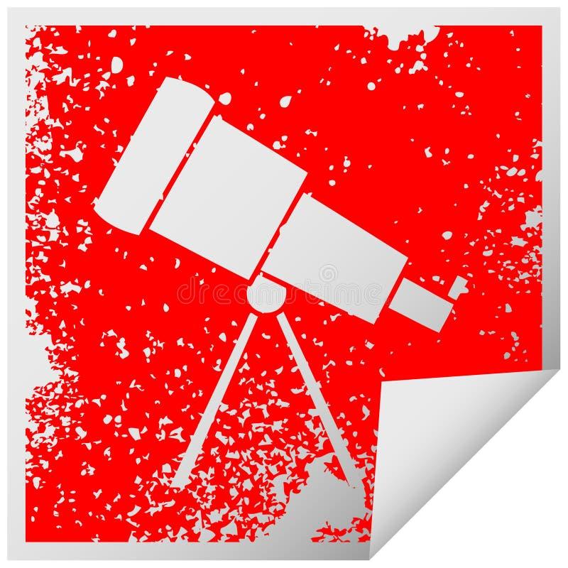 distressed square peeling sticker symbol of a telescope stock illustration