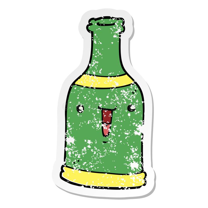 Cute Cartoon Sticker Stick Icon Decal Label Drawing Illustration Retro Doodle Freehand Free Hand Drawn Quirky Art Artwork Funny Character Beer Wine Bottle Stock Illustrations 4 Cute Cartoon Sticker Stick Icon
