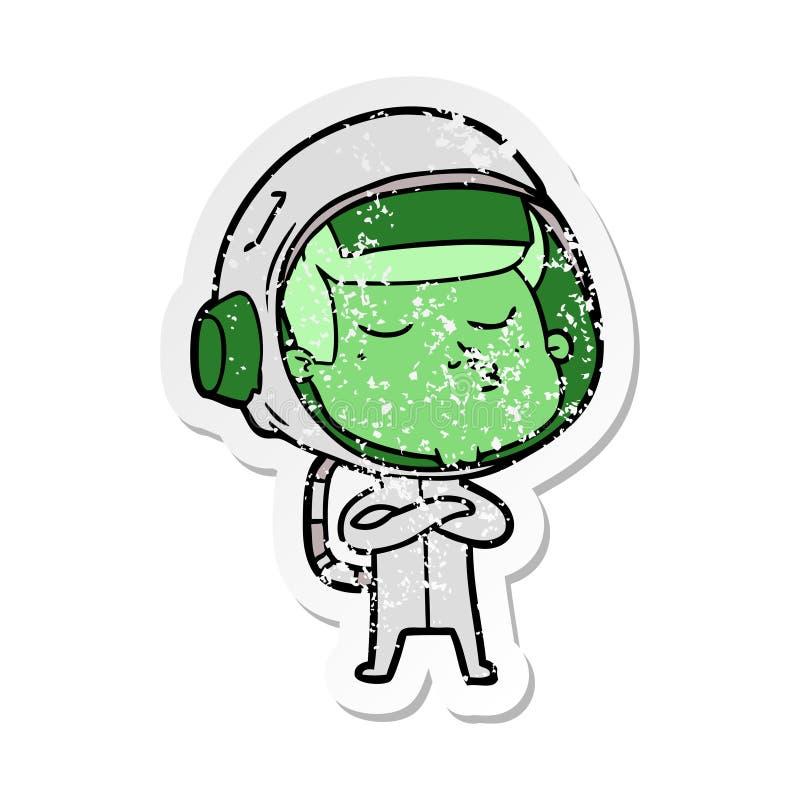 distressed sticker of a cartoon confident astronaut stock illustration
