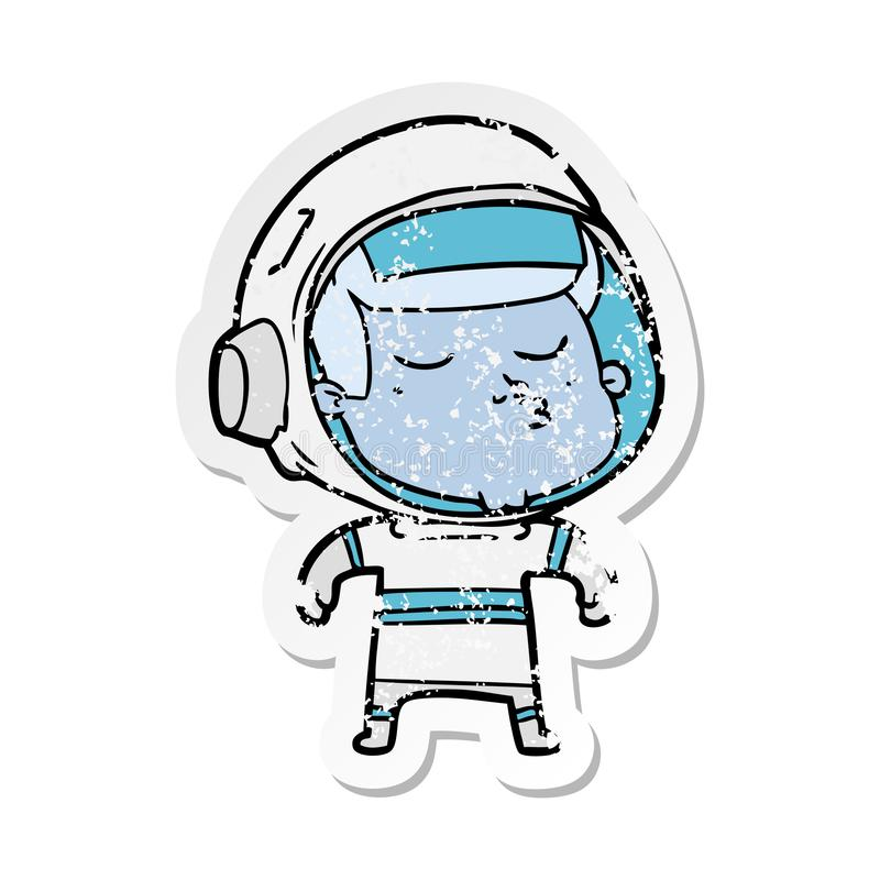 Distressed sticker of a cartoon confident astronaut. Illustrated distressed sticker of a cartoon confident astronaut vector illustration