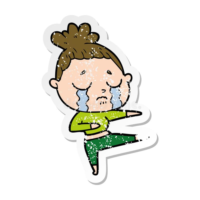 Distressed sticker of a cartoon crying woman dancing. A creative illustrated distressed sticker of a cartoon crying woman dancing vector illustration