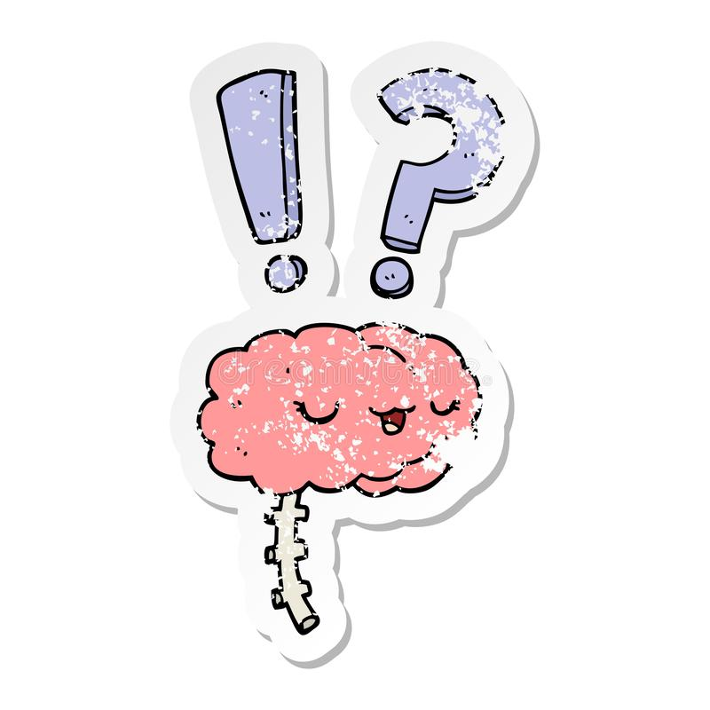 Distressed sticker of a cartoon curious brain. Illustrated distressed sticker of a cartoon curious brain vector illustration