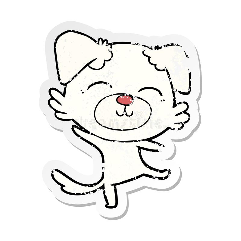 Distressed sticker of a cartoon dog doing a happy dance. A creative distressed sticker of a cartoon dog doing a happy dance vector illustration