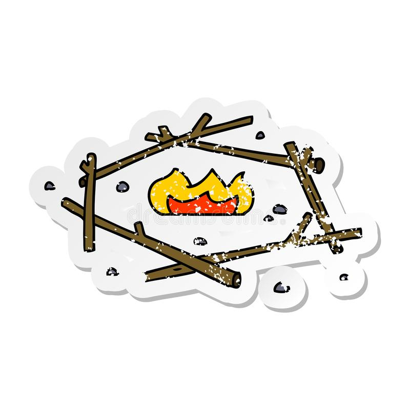 Distressed sticker cartoon doodle of a camp fire. A creative illustrated distressed sticker cartoon doodle of a camp fire stock illustration