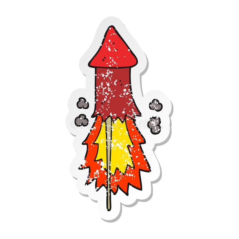 Distressed sticker of a cartoon firework. A creative illustrated distressed sticker of a cartoon firework vector illustration