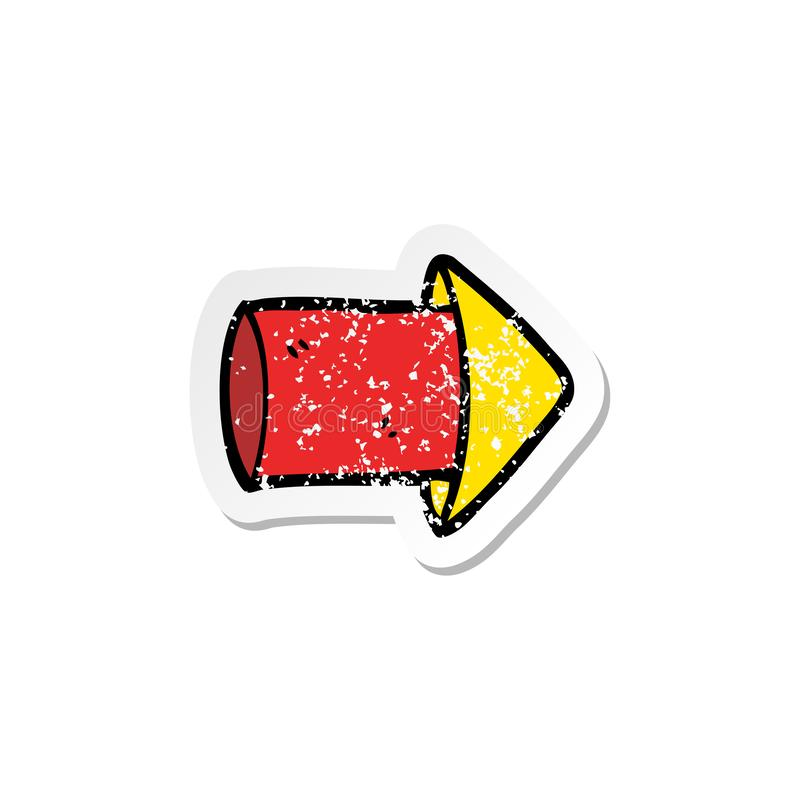 Distressed sticker of a cartoon firework. A creative illustrated distressed sticker of a cartoon firework royalty free illustration
