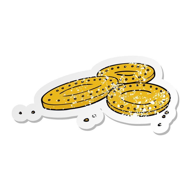 Distressed sticker of a cartoon gold coins. A creative illustrated distressed sticker of a cartoon gold coins royalty free illustration