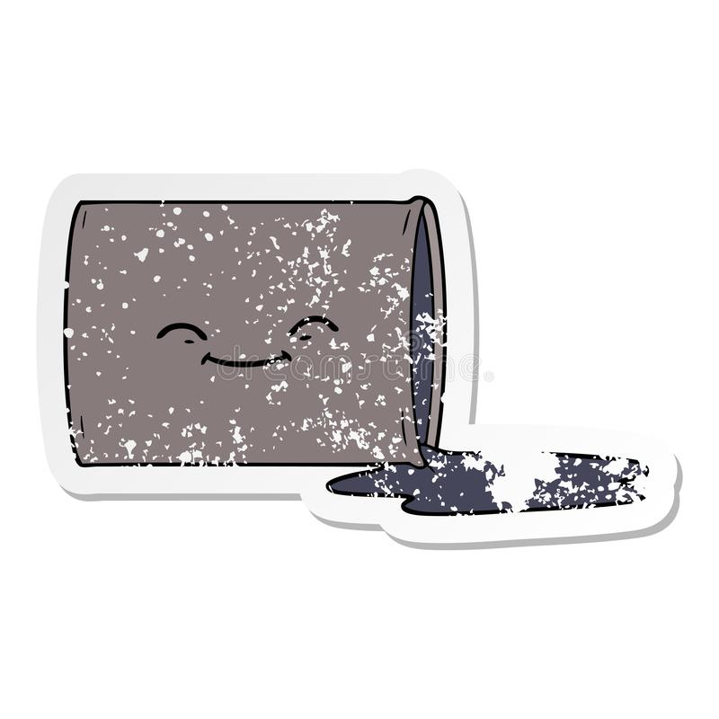 Distressed sticker of a cartoon happy oil drum. A creative illustrated distressed sticker of a cartoon happy oil drum stock illustration