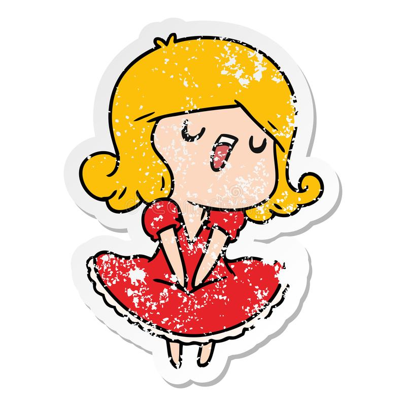 Distressed sticker cartoon illustration of a cute singing kawaii girl. A creative distressed sticker cartoon of a cute singing kawaii girl vector illustration