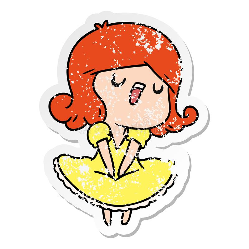 Distressed sticker cartoon illustration of a cute singing kawaii girl. A creative distressed sticker cartoon of a cute singing kawaii girl stock illustration