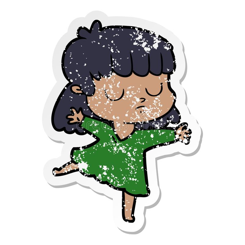Distressed sticker of a cartoon indifferent woman dancing. Illustrated distressed sticker of a cartoon indifferent woman dancing royalty free illustration