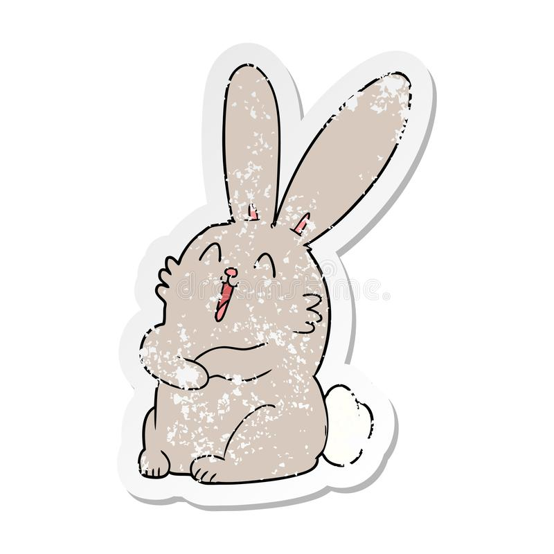 distressed sticker of a cartoon laughing bunny rabbit royalty free illustration