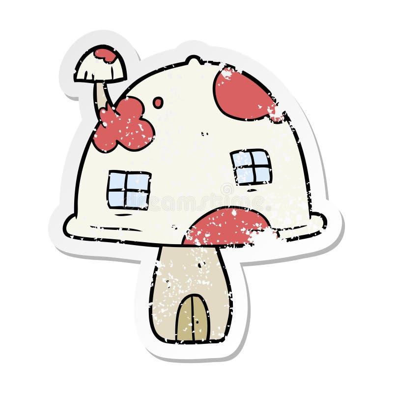 distressed sticker of a cartoon mushroom house stock illustration