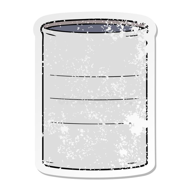 Distressed sticker of a cartoon oil drum. A creative illustrated distressed sticker of a cartoon oil drum stock illustration