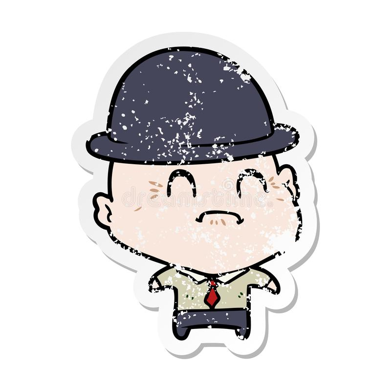 Distressed sticker of a cartoon old businessman. A creative distressed sticker of a cartoon old businessman stock illustration