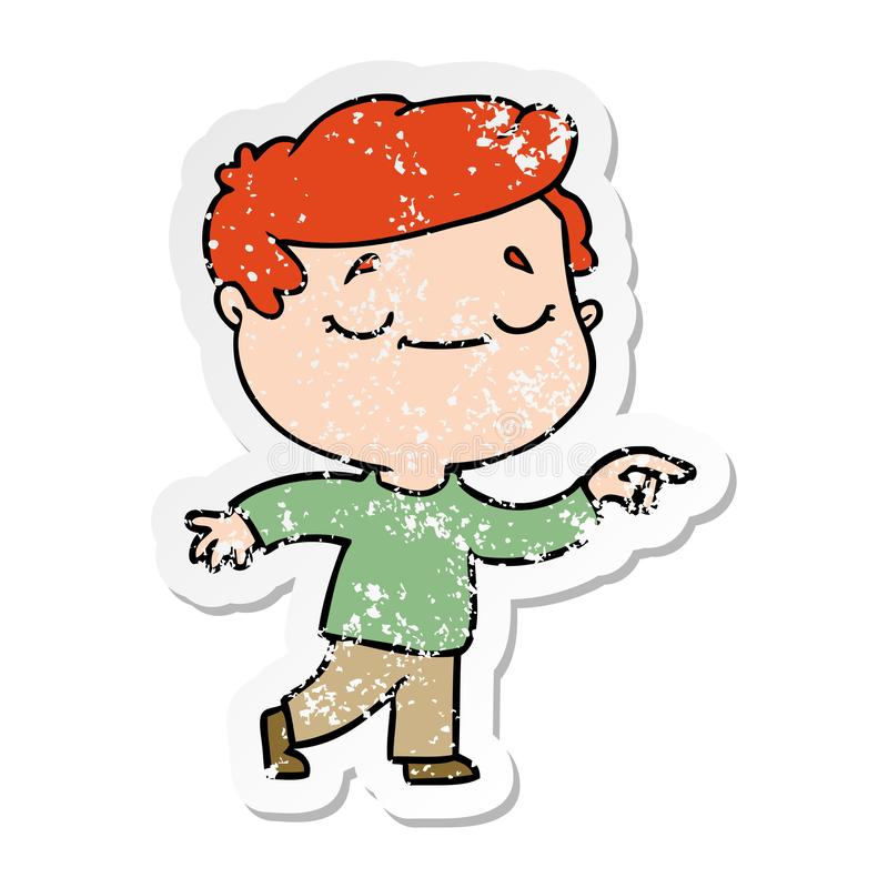 Distressed sticker of a cartoon peaceful man. A creative illustrated distressed sticker of a cartoon peaceful man stock illustration