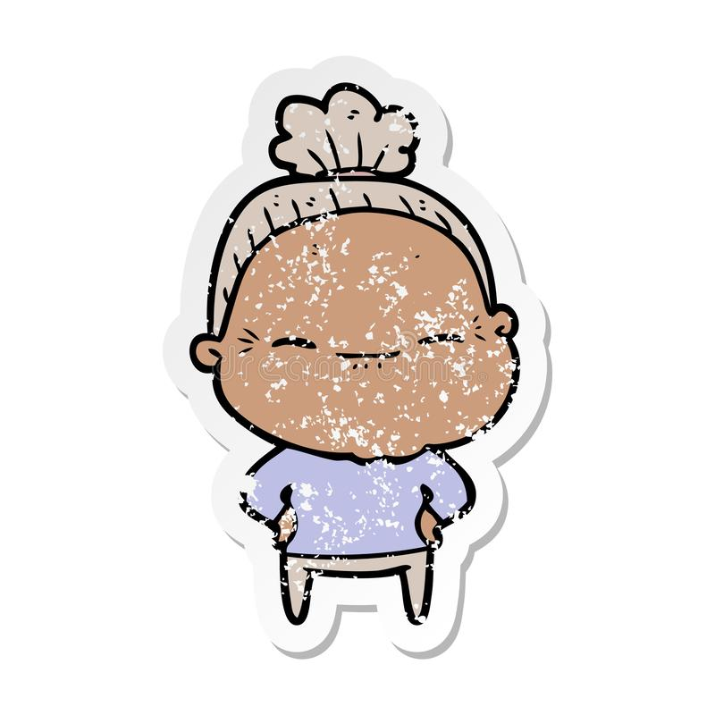 Distressed sticker of a cartoon peaceful old woman. A creative illustrated distressed sticker of a cartoon peaceful old woman stock illustration