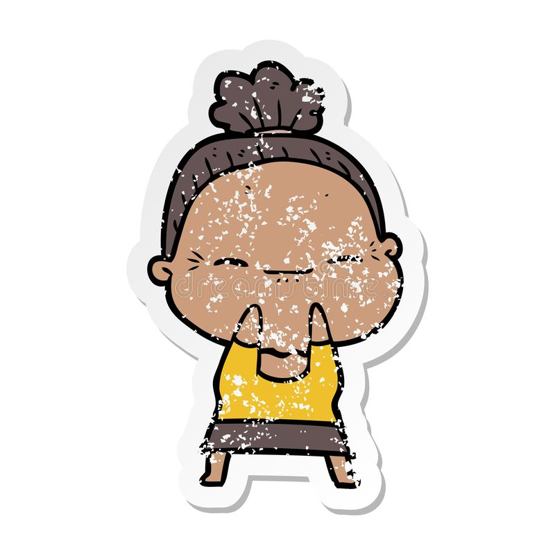 Distressed sticker of a cartoon peaceful old woman. A creative illustrated distressed sticker of a cartoon peaceful old woman royalty free illustration
