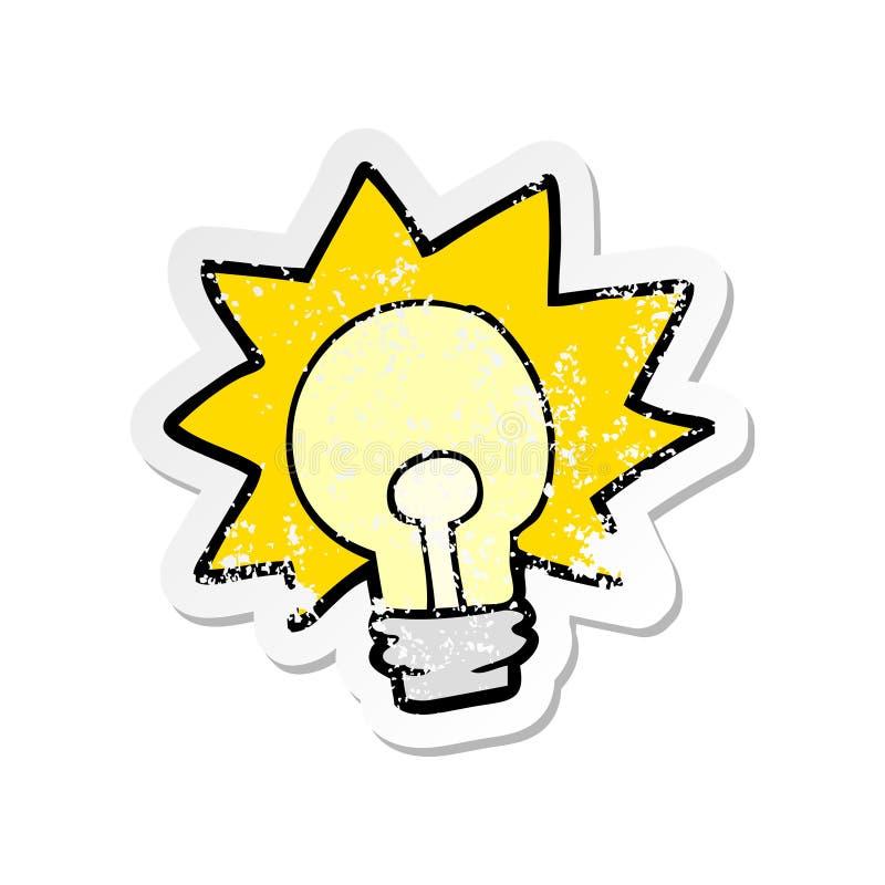 Distressed sticker of a cartoon shining light bulb. Illustrated distressed sticker of a cartoon shining light bulb royalty free illustration