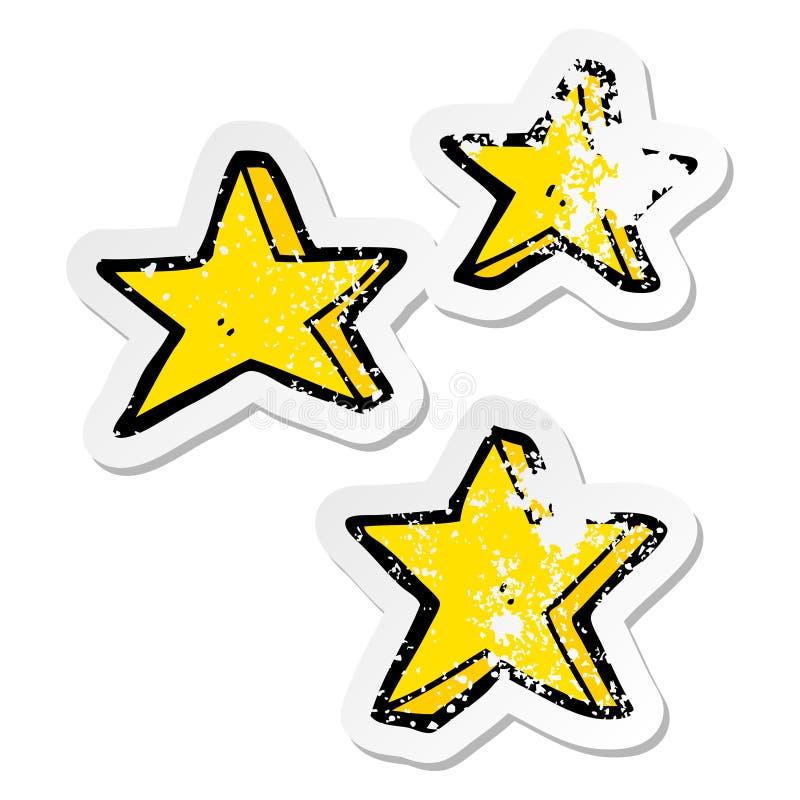 Distressed sticker of a cartoon stars. A creative distressed sticker of a cartoon stars stock illustration