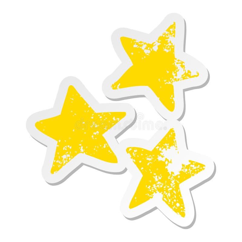 Distressed sticker of a cartoon stars. A creative illustrated distressed sticker of a cartoon stars stock illustration