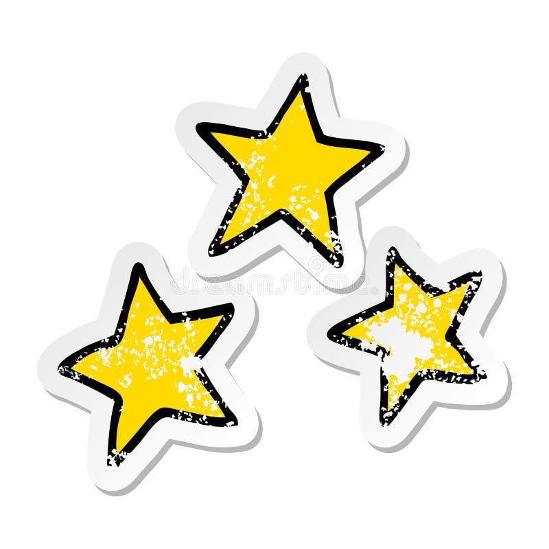 Distressed sticker of a cartoon stars. A creative illustrated distressed sticker of a cartoon stars vector illustration