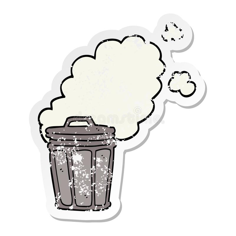 distressed sticker of a cartoon stinky garbage can vector illustration