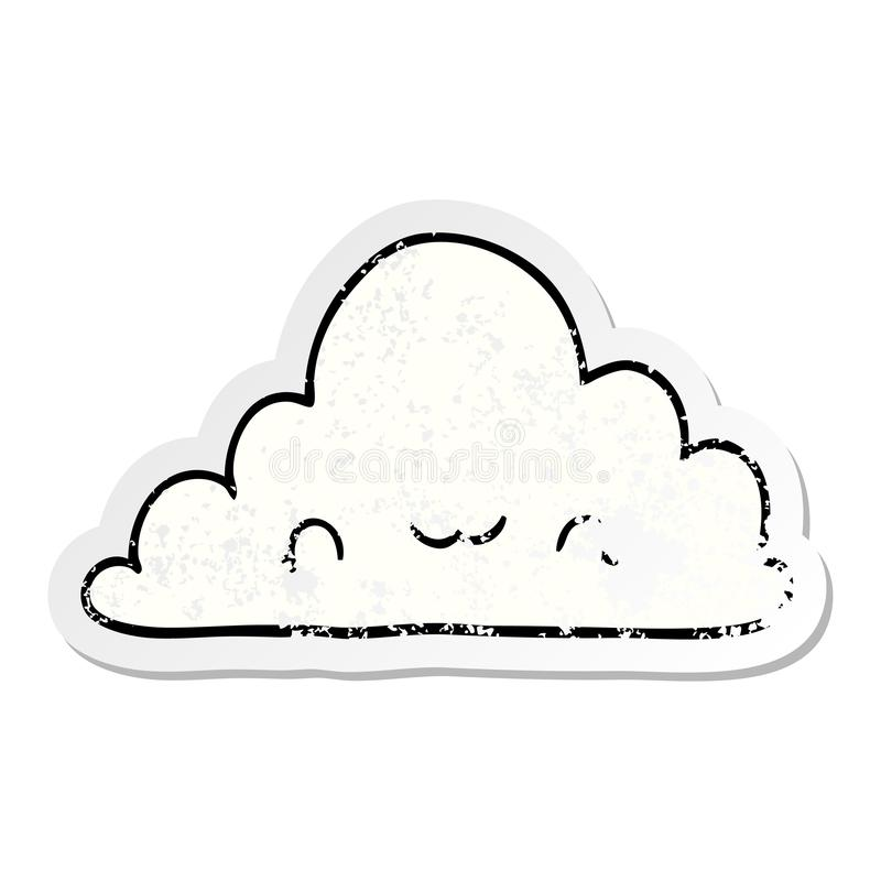 distressed sticker of a cute cartoon cloud stock illustration
