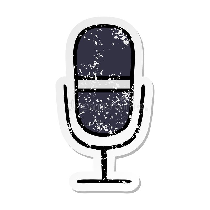 Distressed sticker of a cute cartoon radio microphone. A creative illustrated distressed sticker of a cute cartoon radio microphone vector illustration