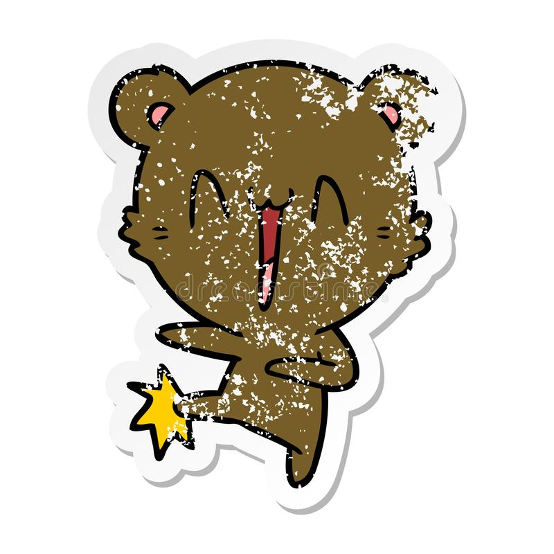 Distressed sticker of a happy bear kicking cartoon. A creative illustrated distressed sticker of a happy bear kicking cartoon stock illustration
