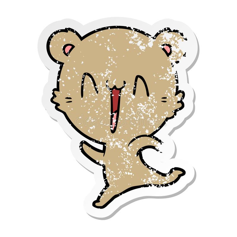 Distressed sticker of a happy bear running cartoon. A creative illustrated distressed sticker of a happy bear running cartoon vector illustration