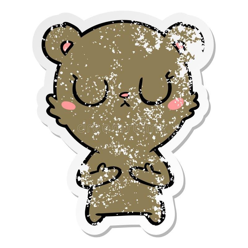 Distressed sticker of a peaceful cartoon bear cub. A creative illustrated distressed sticker of a peaceful cartoon bear cub stock illustration