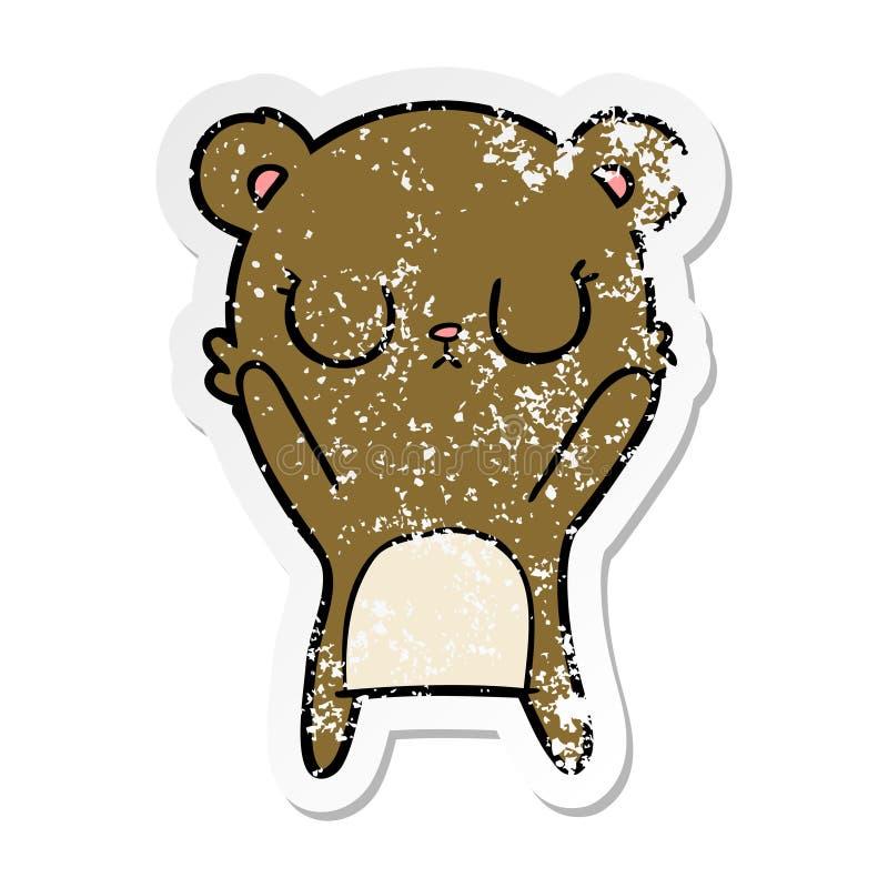 Distressed sticker of a peaceful cartoon bear cub. A creative illustrated distressed sticker of a peaceful cartoon bear cub vector illustration