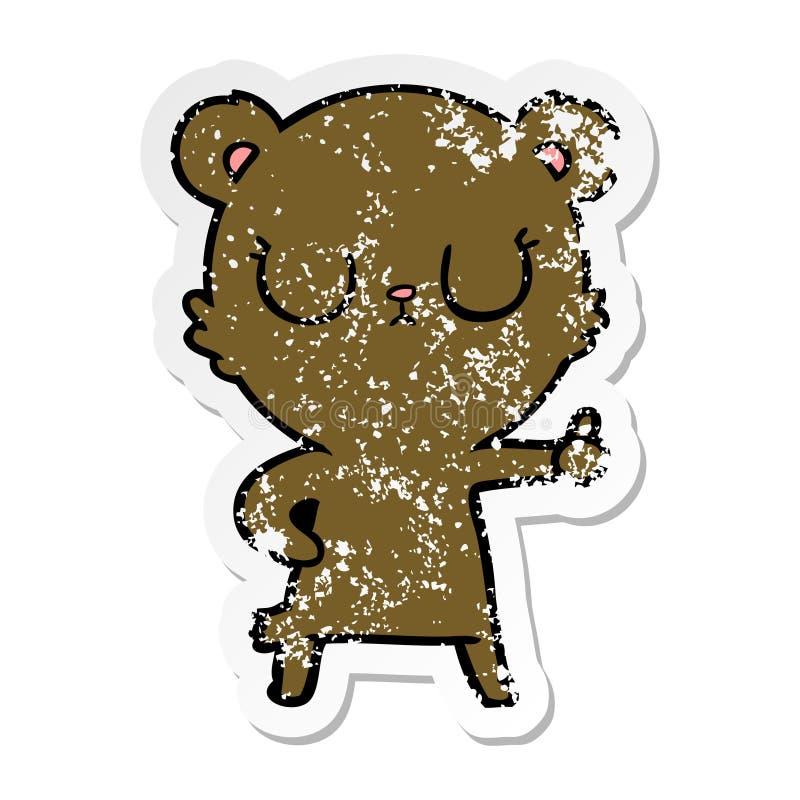 Distressed sticker of a peaceful cartoon bear cub. A creative illustrated distressed sticker of a peaceful cartoon bear cub royalty free illustration