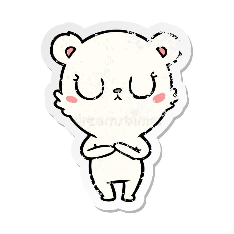 Distressed sticker of a peaceful cartoon polar bear. A creative distressed sticker of a peaceful cartoon polar bear vector illustration