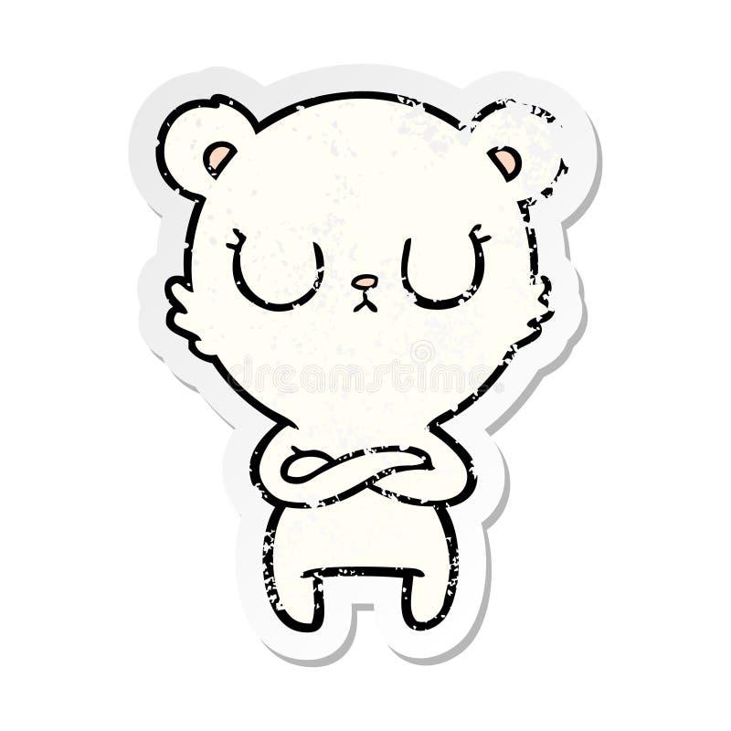 Distressed sticker of a peaceful cartoon polar bear. A creative distressed sticker of a peaceful cartoon polar bear royalty free illustration